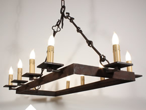 Ten Light Iron Chandelier