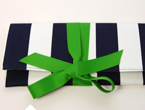Navy Blue And White Striped Clutch