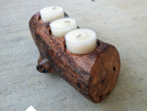 Reclaimed Rustic Oak Candle Holder