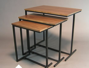 Walnut Veneer Nesting Tables