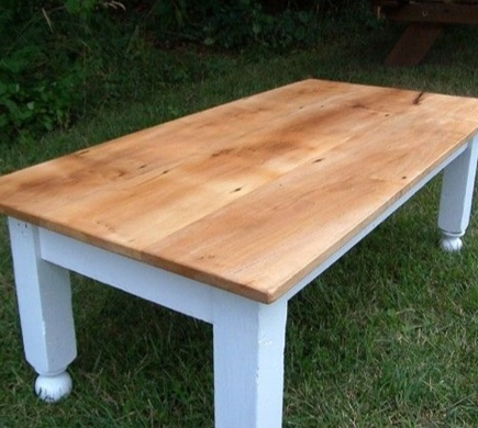 Farm Style Coffee Table With Painted Base
